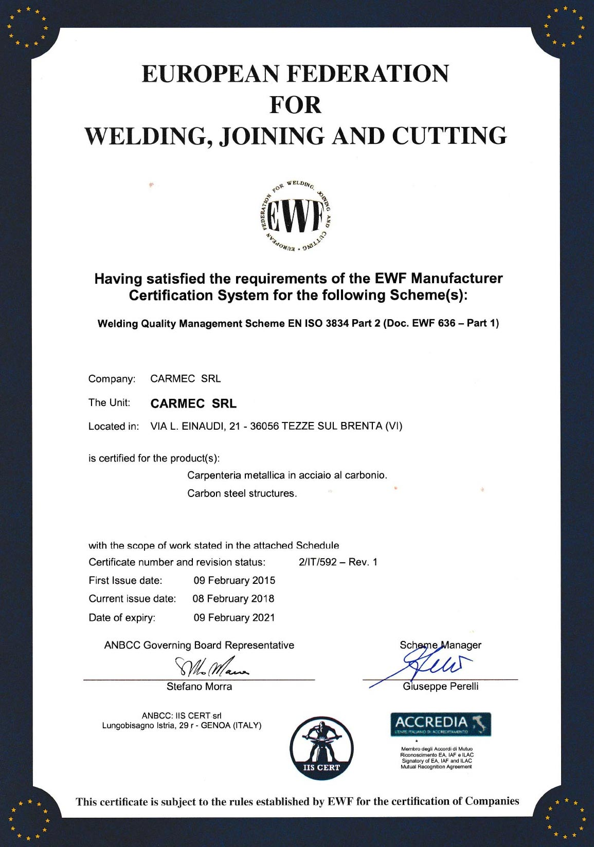 Carmec Srl - European Federation for Welding, Joining and Cutting
