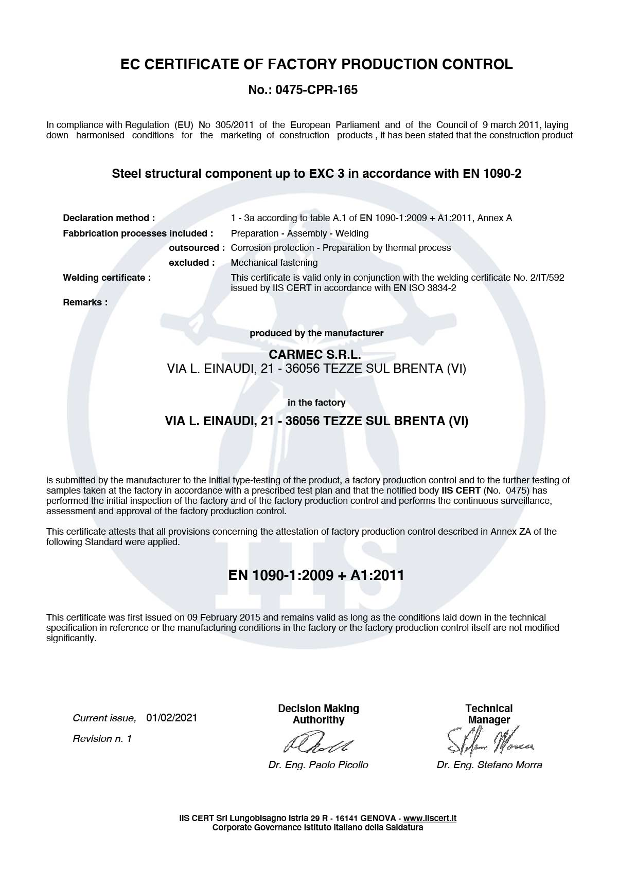 Cramec Srl ISO 9001 2015