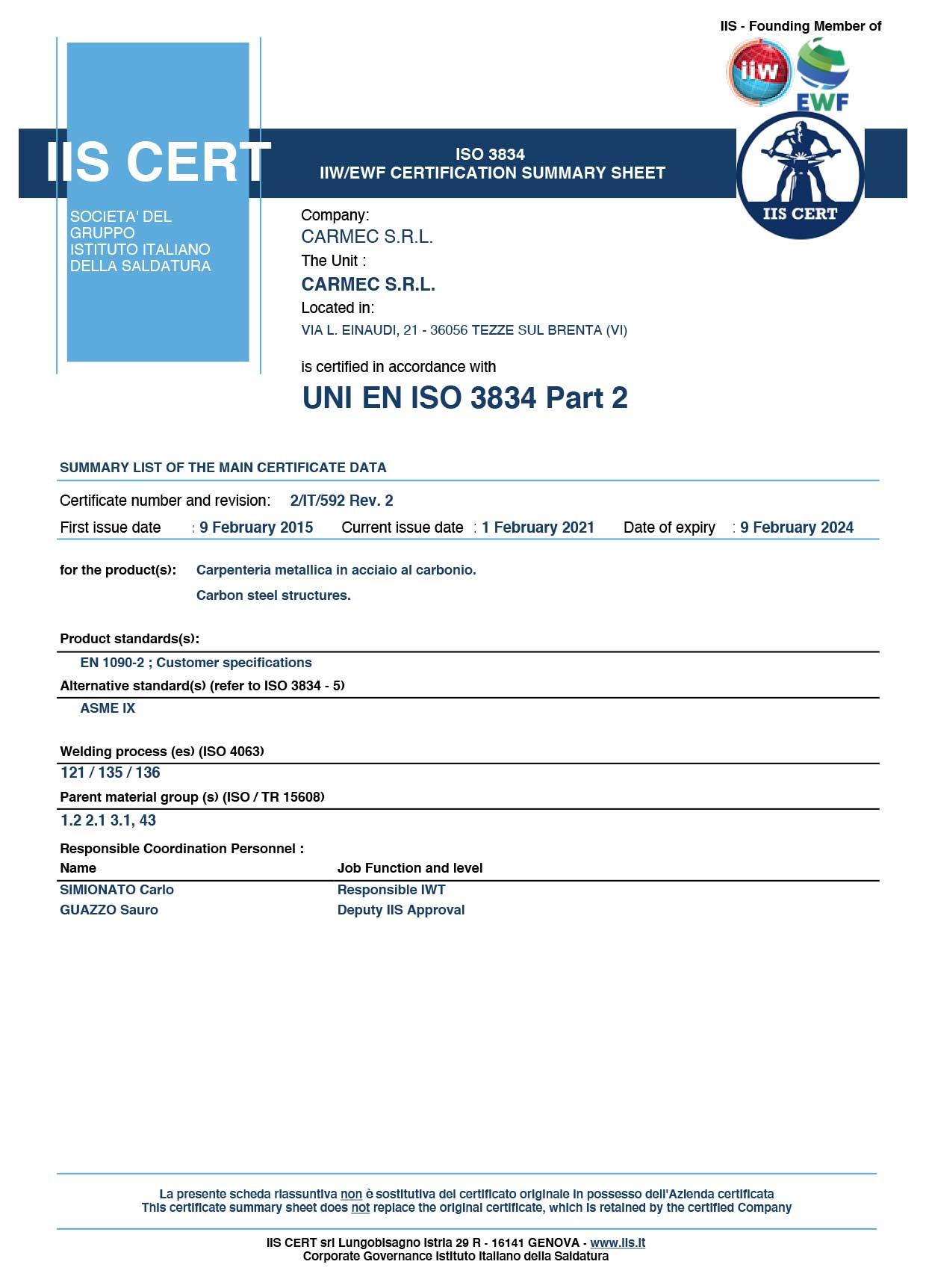 Carmec Srl - International Institute of Welding ISO 3834 P2
